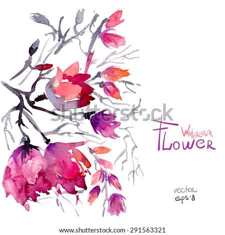 Watercolor spring flowers pink sakura flower tree