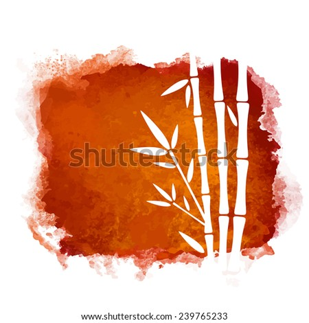 Watercolor square paint stain and bamboo trees closeup white silhouettes. Nature icon isolated on white background. Abstract art. Logo design