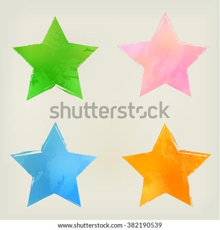 watercolor stars shape splashes