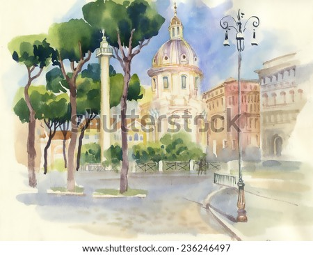 Watercolor street in town vector illustration
