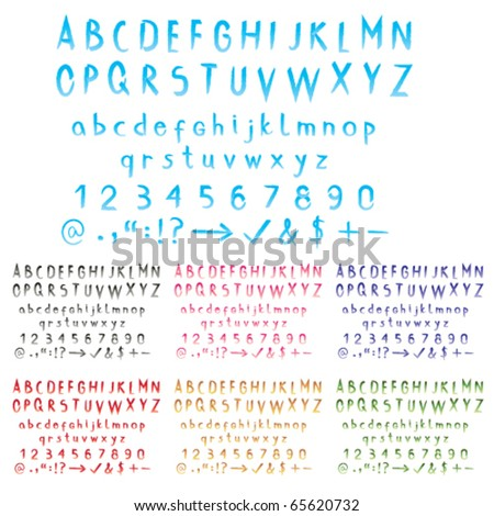 Watercolor stroke effect alphabet with big and small letters, numbers and signs in seven different gradient swatches. Watercolor alphabet