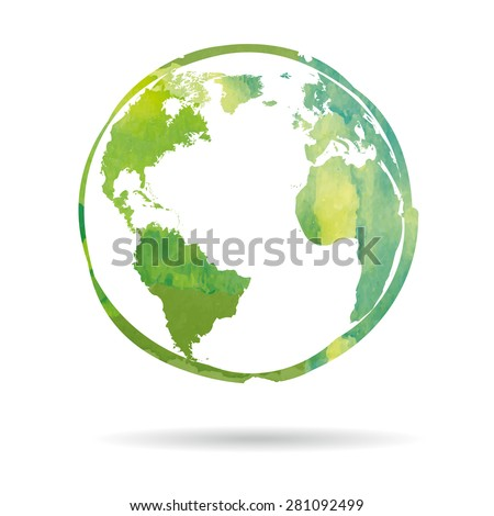 Watercolor style Earth icon isolated on white background Сток-фото ©