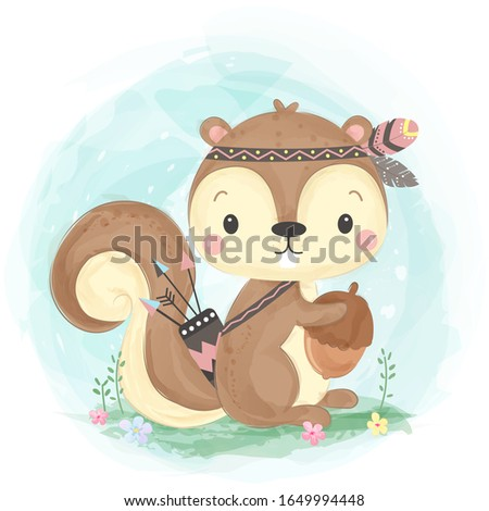 watercolor style squirrel illustration. animal clipart for scrapbooking and decoration.