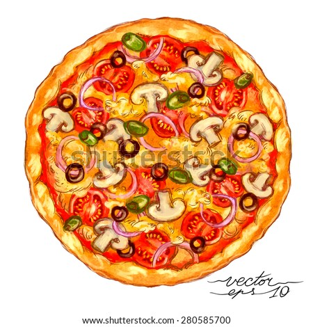 Watercolor-style vector hand drawn Vegetarian pizza.