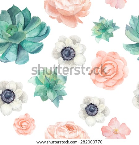 Watercolor succulents and flowers seamless pattern. Vintage wallpaper with pastel peony,roses, anemones, succulents, rose hip on white background. Floral texture in vector