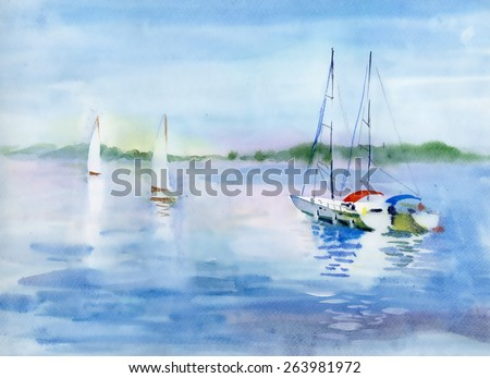 watercolor summer landscape