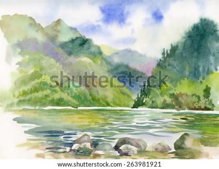watercolor summer river