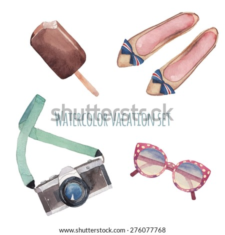 watercolor summer style set