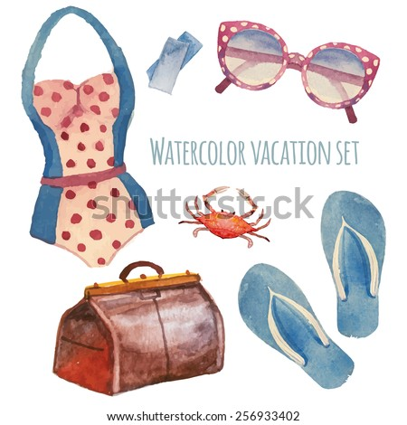 watercolor summer vacation