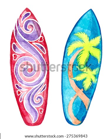 watercolor surf board vector