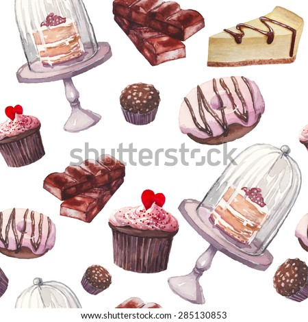Watercolor sweets pattern. Seamless background with hand drawn food objects: cupcakes, chocolate, rustic cake, delicious donut, nuts candy, cheesecake. Vector cute wallpaper