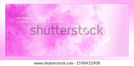 Watercolor template banner. Pink paint splash. Delicate and subtle sun rays. Vector illustration. Ethereal colors. Free copy space. Colorful, textured background. Magenta clouds.