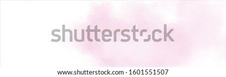 Watercolor template banner. Pink paint splash. Delicate and subtle sun rays. Vector illustration. Ethereal colors. Free copy space. Colorful, textured background. Magenta clouds. Template design.