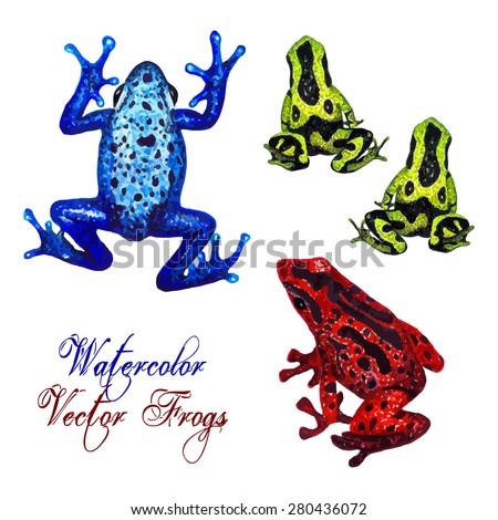 watercolor tropical frog set