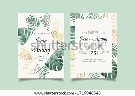 Watercolor tropical leaves wedding invitation with golden leaves