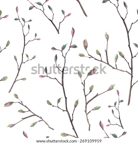 watercolor twigs pattern