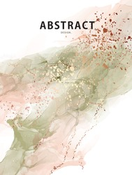 Watercolor vector abstract splash background. Watercolour stain earth tone paint, sage green beige and gold splatter texture drip, Liquid effect drop ink.