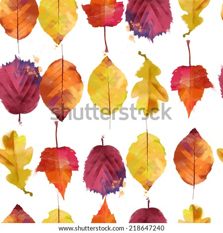 watercolor vector autumn leaves
