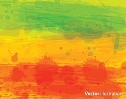 Watercolor vector background with classic reggae colors