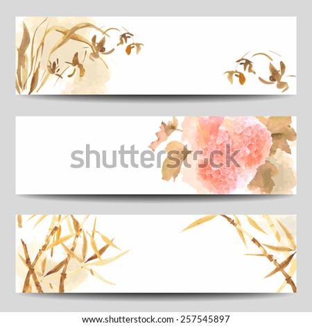 watercolor vector banners in