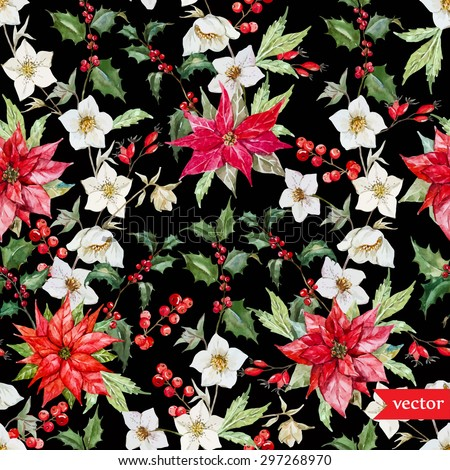 watercolor vector Christmas pattern, hellebore flowers, poinsettia, red berries, dark background