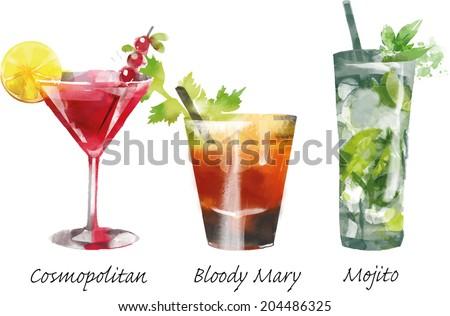 Watercolor vector cocktails