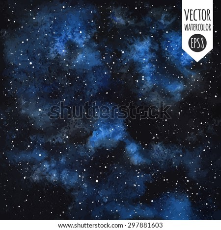 Watercolor vector cosmic background. Night sky with stars. Black with blue stains. Splash texture.