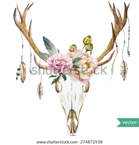 watercolor vector deer head
