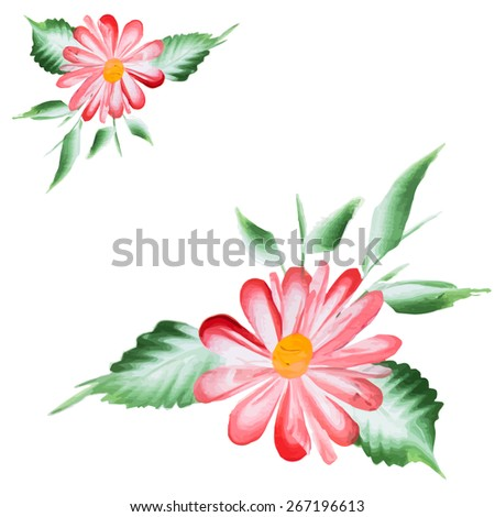 Watercolor Vector Flowers. A Vector Floral Collection. ornamental pattern composition.