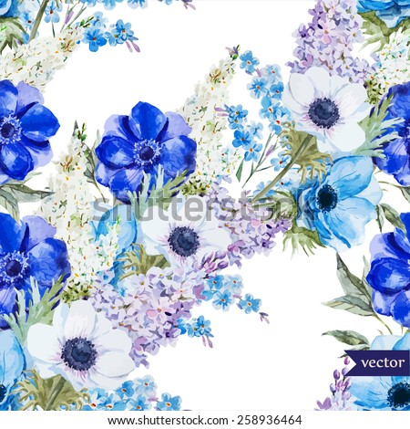 watercolor, vector, flowers, anemones, lilac, boho,pattern, wallpaper