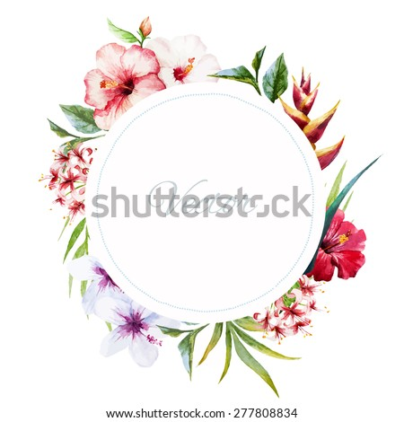 watercolor vector frame with tropical leaves and flowers