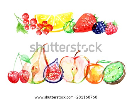 watercolor vector fruits and