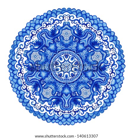 Watercolor vector gzhel. Doily round lace pattern, circle background with many details, looks like crocheting handmade lace, lacy arabesque designs.Orient traditional ornament. Oriental motif