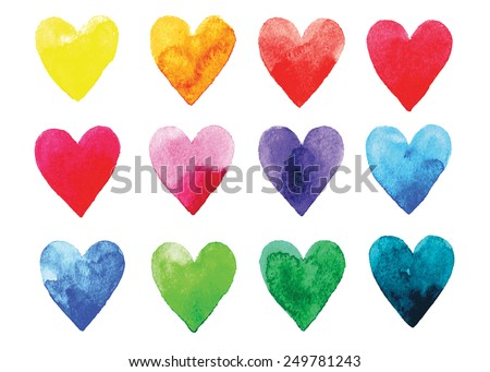 Watercolor vector hearts