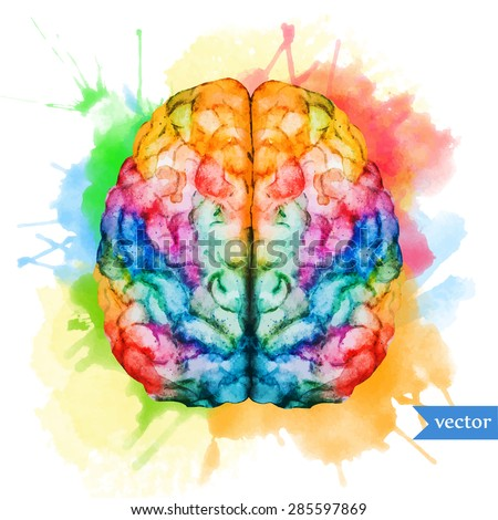watercolor vector illustration colored brain two hemispheres on the background of bright spots