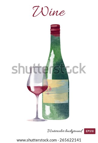 Watercolor vector illustration of red wine bottle and wine glass