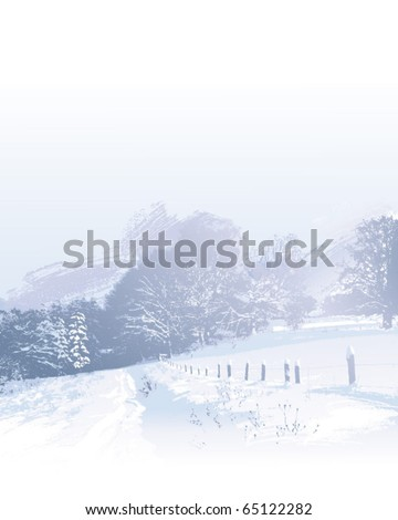 watercolor vector illustration of winter outdoors