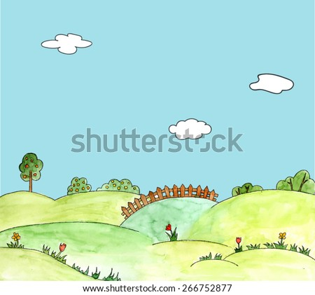 watercolor vector landscape