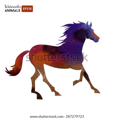 Watercolor vector logo of horse