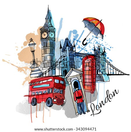 free london bus watercolor vector download free vector art stock
