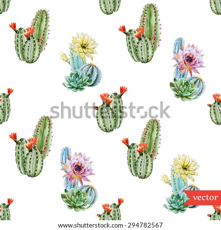 watercolor vector pattern tropical cactus, cactus with red flowers, yellow flowers