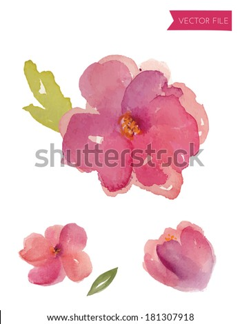 Watercolor Vector Purple Spring Flowers With Watercolor Leaves