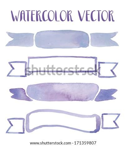 Watercolor Vector Ribbons