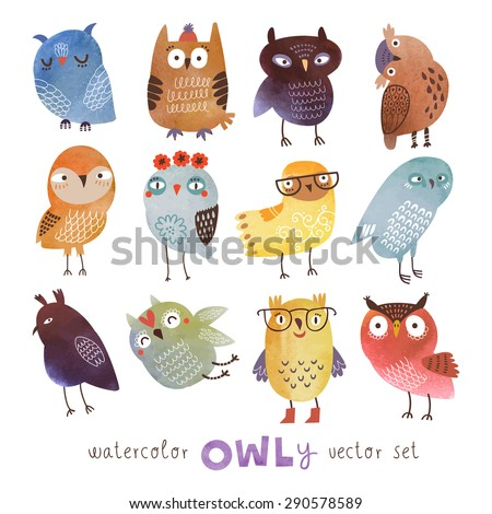 watercolor vector set funny