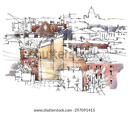 Watercolor vector sketch of old street landscape.