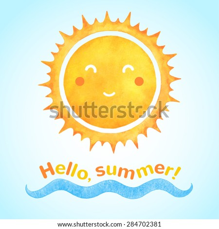 watercolor vector smiling sun