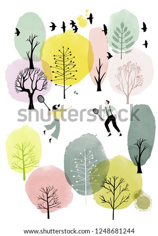 watercolor vector spring
