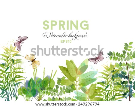 watercolor vector spring