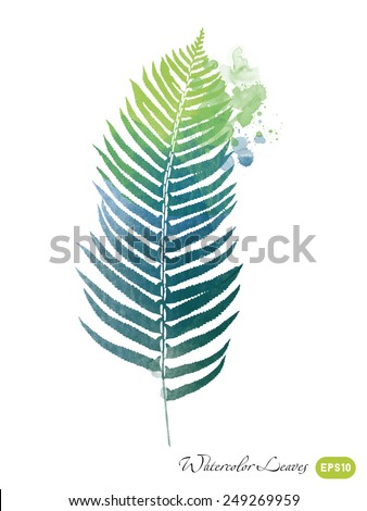 watercolor vector spring leaves