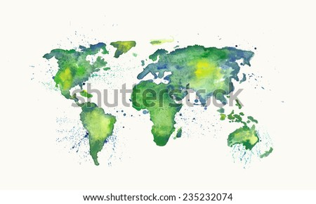 watercolor vector world map